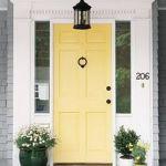 Bright yellow welcoming front door