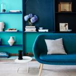 Blue and green painted lounge room